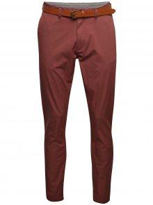 Cihlové chino kalhoty s páskem Selected Homme Hyard