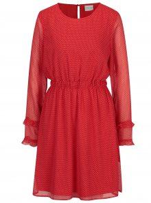 Červené puntíkované šaty s dlouhým rukávem VILA Dotly