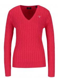 Červený dámský svetr s copánkovým vzorem GANT