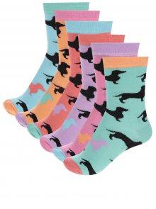 Sada šesti dámských ponožek v modré a oranžové barvě se vzorem jezevčíků Oddsocks Hotdogs