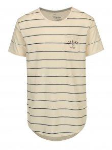 Modro-béžové pruhované loose fit tričko s náprsní kapsou Quiksilver