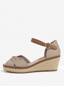 Béžové sandály na klínku Tommy Hilfiger