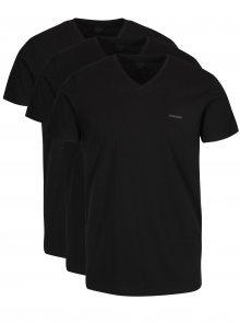 Sada tří triček pod košili s véčkovým výstřihem v černé barvě Diesel