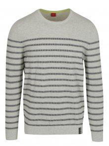 Krémový pánský pruhovaný svetr s.Oliver