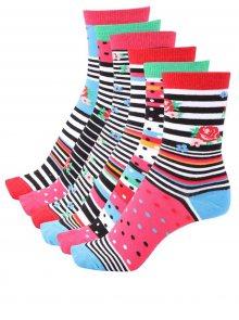 Sada šesti  dámských ponožek v růžové a černé barvě Oddsocks Cotton Kandy