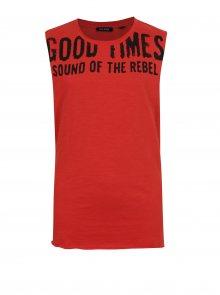 Červené klučičí tričko s potiskem bez rukávu Blue Seven