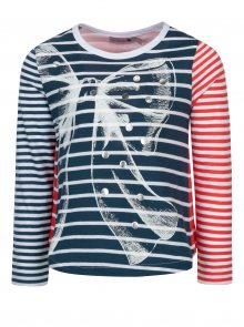 Červeno-modré holčičí pruhované tričko Bóboli