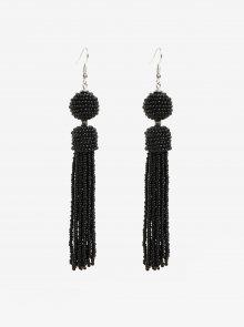 Černé korálkové náušnice s detaily ve stříbrné barvě Pieces Maise