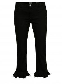 Černé zkrácené straight džíny s volány ONLY New Sissi