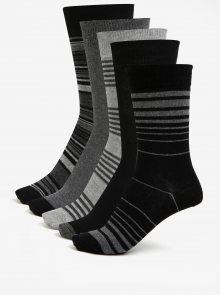 Sada pěti párů vzorovaných ponožek v šedé a černé barvě Burton Menswear London