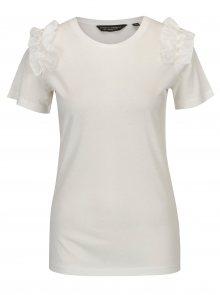 Krémové tričko s volány Dorothy Perkins