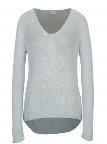 Světle modrý svetr s véčkovým výstřihem VILA Tobina