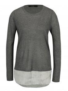 Šedý lehký svetr s všitou košilí 2v1 VERO MODA Ania