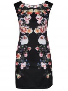 Černé krátké květované šaty Mela London