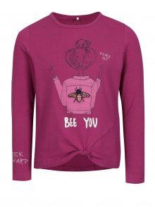 Tmavě růžové holčičí tričko s potiskem name it Hally