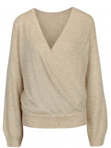Béžový žíhaný svetr s překládaným výstřihem ONLY Elani