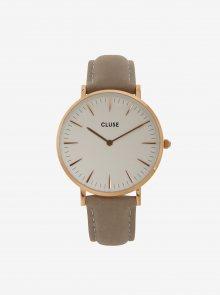 Dámské hodinky ve zlaté barvě s vyměnitelnými koženými pásky v černé a šedé barvě CLUSE