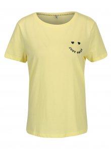 Žluté tričko s výšivkou ONLY Kita
