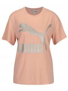 Růžové dámské tričko s potiskem Puma