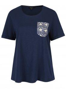 Modré regular tričko s kapsou Ulla Popken