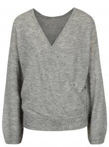 Šedý žíhaný svetr s překládaným výstřihem ONLY Elani