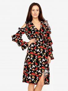 Černé květované šaty s volány a průstřihy na ramenou MISSGUIDED