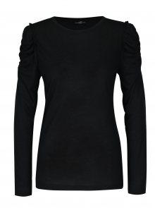 Černé tričko s řasením na ramenou Jacqueline de Yong Fanny