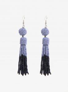 Fialové korálkové náušnice s detaily ve stříbrné barvě Pieces Maise