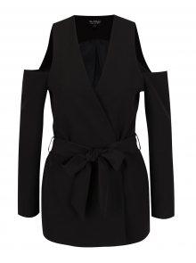 Černé sako s průstřihy na ramenou Miss Selfridge