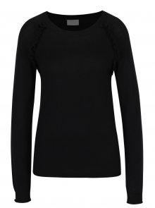 Černý lehký svetr s volány VILA Esly