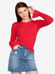 Červený žebrovaný svetr s volány na rukávech Miss Selfridge