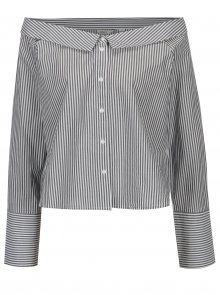 Bílo-modrá pruhovaná krátká košile s lodičkovým výstřihem ONLY Bambi