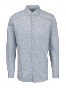 Modro-bílá vzorovaná slim fit košile Selected Homme Done Pen