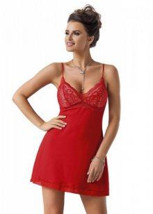Donna Megi noční košilka red XXL červeno-ecru