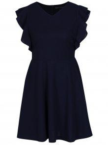 Tmavě modré krátké áčkové šaty s volánovým rukávem Mela London