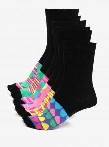 Sada šesti dámských vzorovaných ponožek v černé a růžové barvě Oddsocks Secret