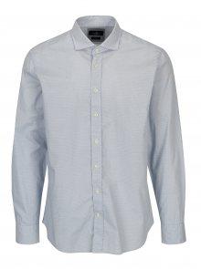 Bílo-modrá vzorovaná slim fit košile Hackett London