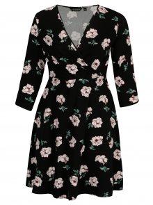 Černé květované šaty s překládaným výstřihem Dorothy Perkins Curve