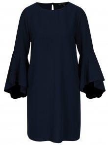 Tmavě modré volné šaty s volány na rukávech Mela London