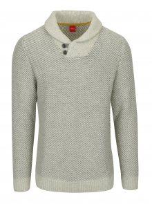 Béžový pánský vzorovaný svetr s límcem s.Oliver