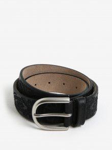 Černý kožený pásek s výšivkou Desigual Basic