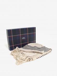 Set dámské vlněné čepice a šály v béžové barvě a v dárkové krabičce Tommy Hilfiger