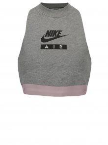Šedý sportovní crop top bez rukávů Nike