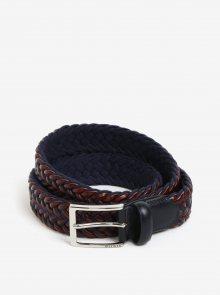 Modro-hnědý pánský kožený pásek Tommy Hilfiger
