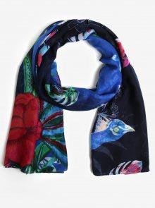 Tmavě modrý šátek s květinami a papoušky Desigual Birdpalm