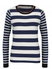 Krémovo-modrý pruhovaný svetr s příměsí vlny Scotch & Soda
