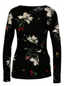 Černé květované tričko s řasením Dorothy Perkins