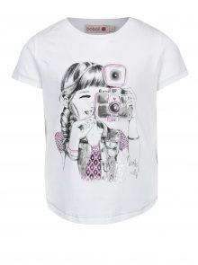 Bílé holčičí tričko s potiskem a krátkým rukávem Bóboli