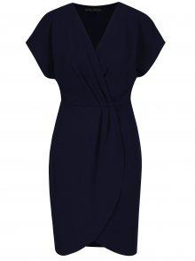 Tmavě modré rovné šaty s překládaným topem a sukní Mela London
