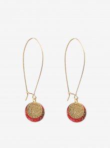 Červené náušnice s penízkem ve zlaté barvě Desigual Colette